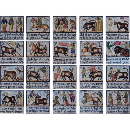 Juego de 20 azulejos con la suerte del toreo